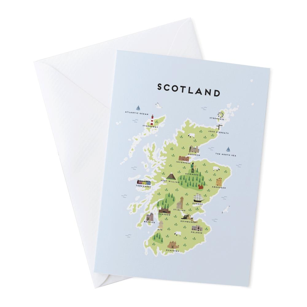 Place in Print Pepper Pot Studios Scotland Illustrated Map Greetings Card