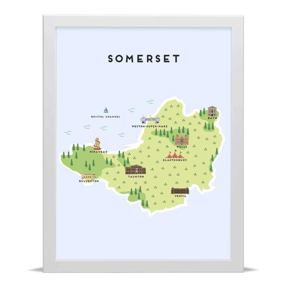 Place in Print Pepper Pot Studios Somerset Illustrated Map Art Print