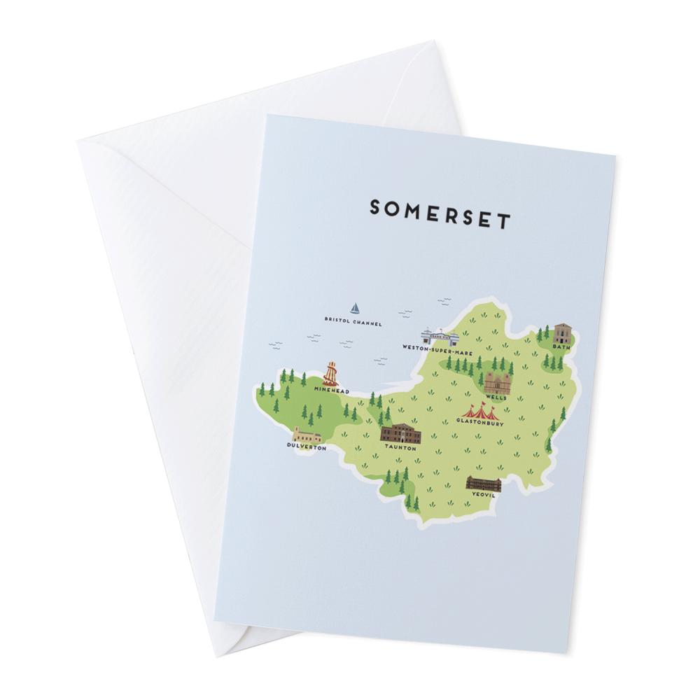 Place in Print Pepper Pot Studios Somerset Illustrated Map Greetings Card