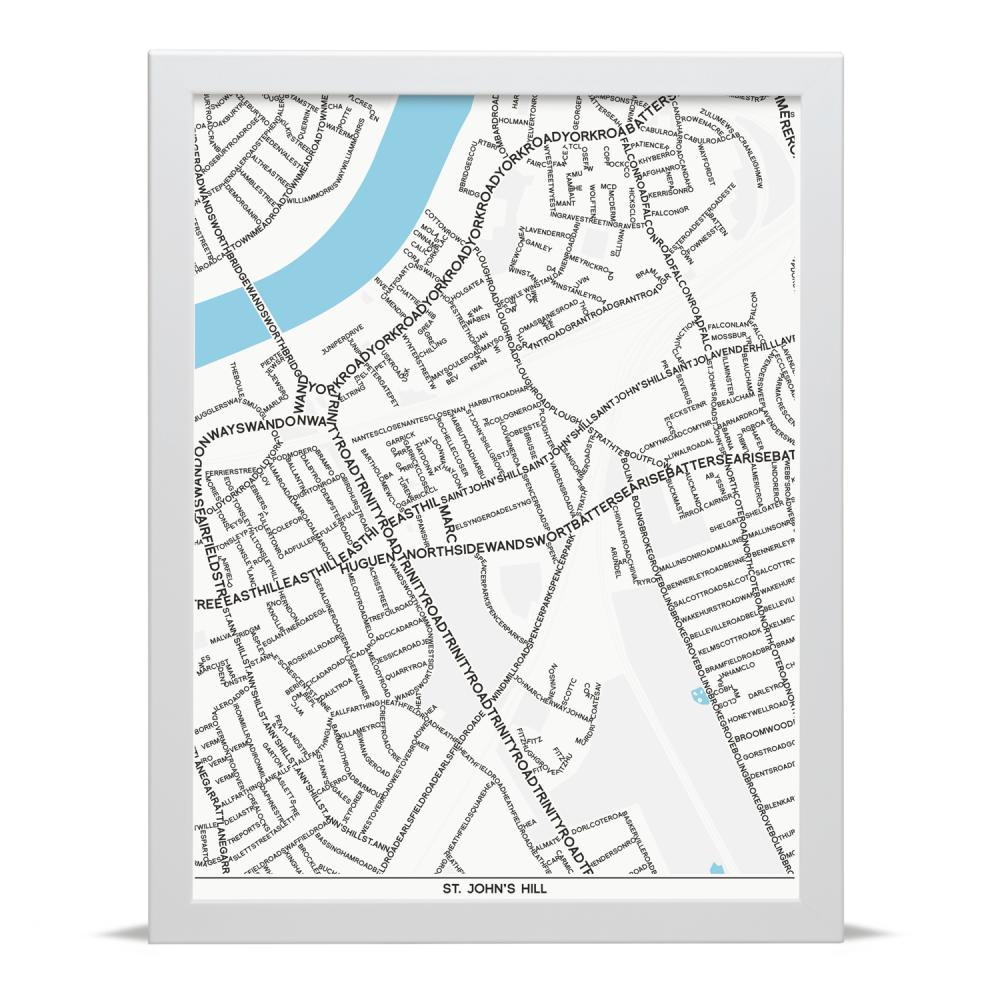 Place in Print St Johns Hill Typographic Map Art Poster Print