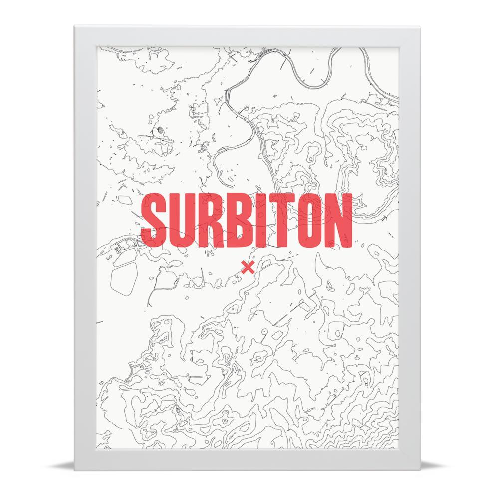 Place in Print Surbiton Contour Map Art Print