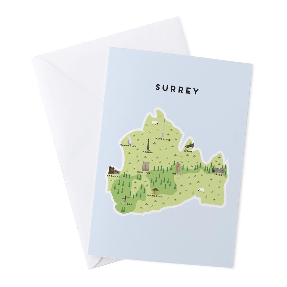 Place in Print Pepper Pot Studios Surrey Illustrated Map Greetings Card