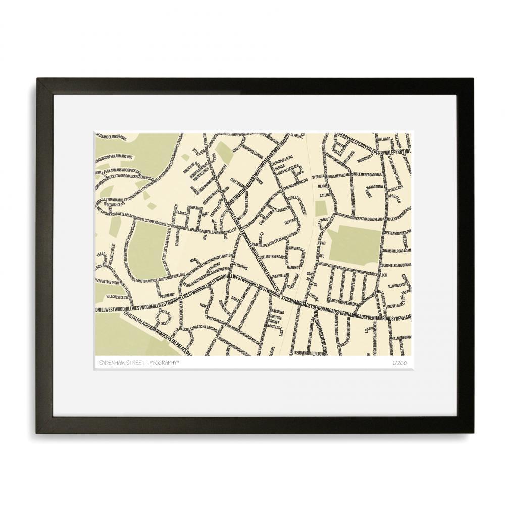 Sydenham Street Typography Map Art Poster Print