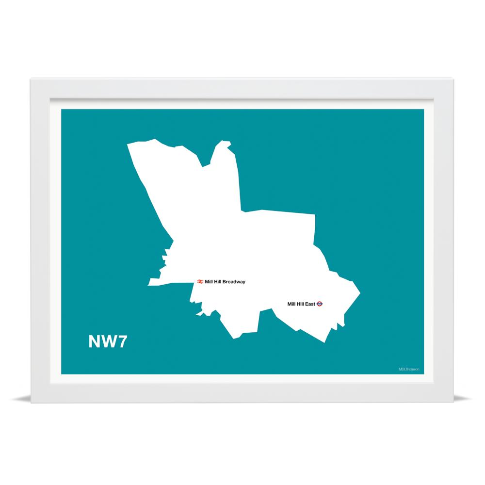 Place in Print MDLThomson NW7 Postcode Map Art Print