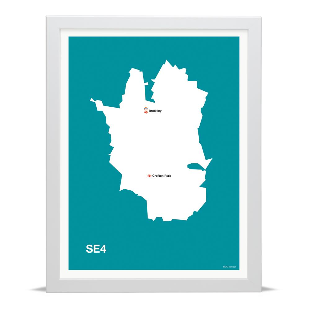 Place in Print MDLThomson SE4 Postcode Map Art Print