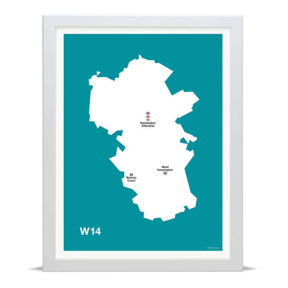 Place in Print MDLThomson W14 Postcode Map Art Print