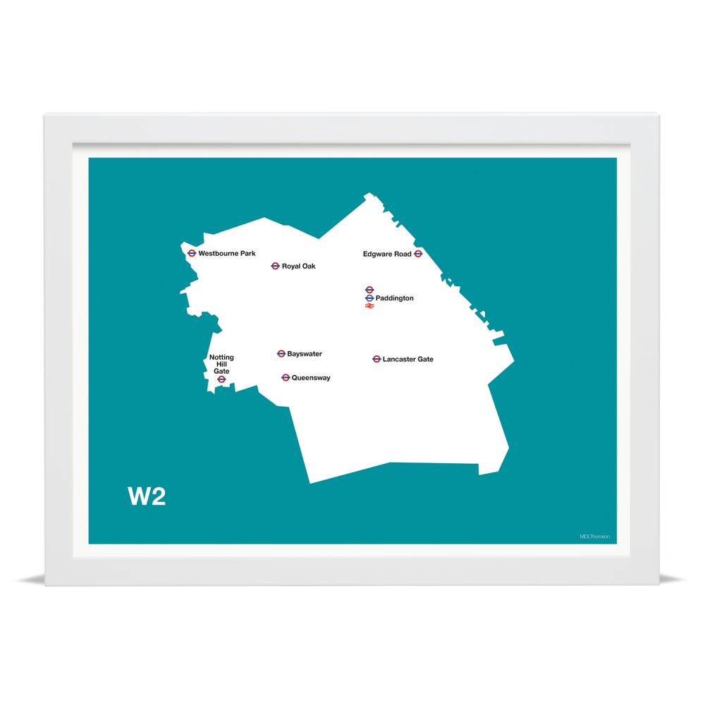 Place in Print MDLThomson W2 Postcode Map Art Print