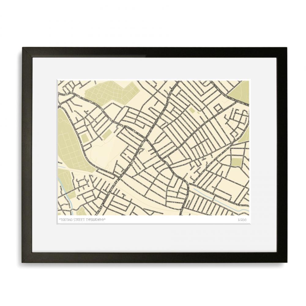 Tooting Street Typography Map Art Poster Print