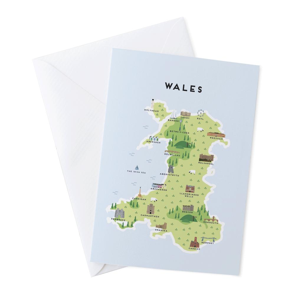 Place in Print Pepper Pot Studios Wales Illustrated Map Greetings Card
