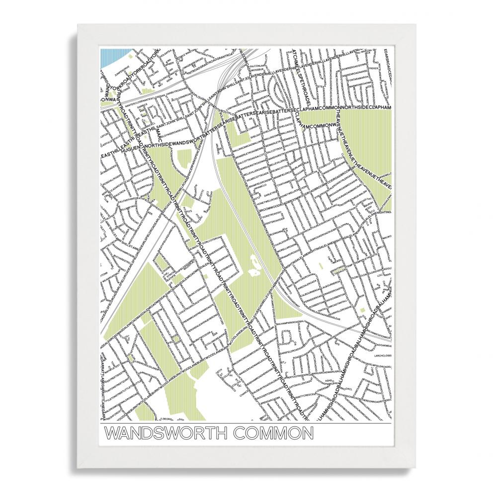 Place in Print Wandsworth Common Typographic Map Poster Print