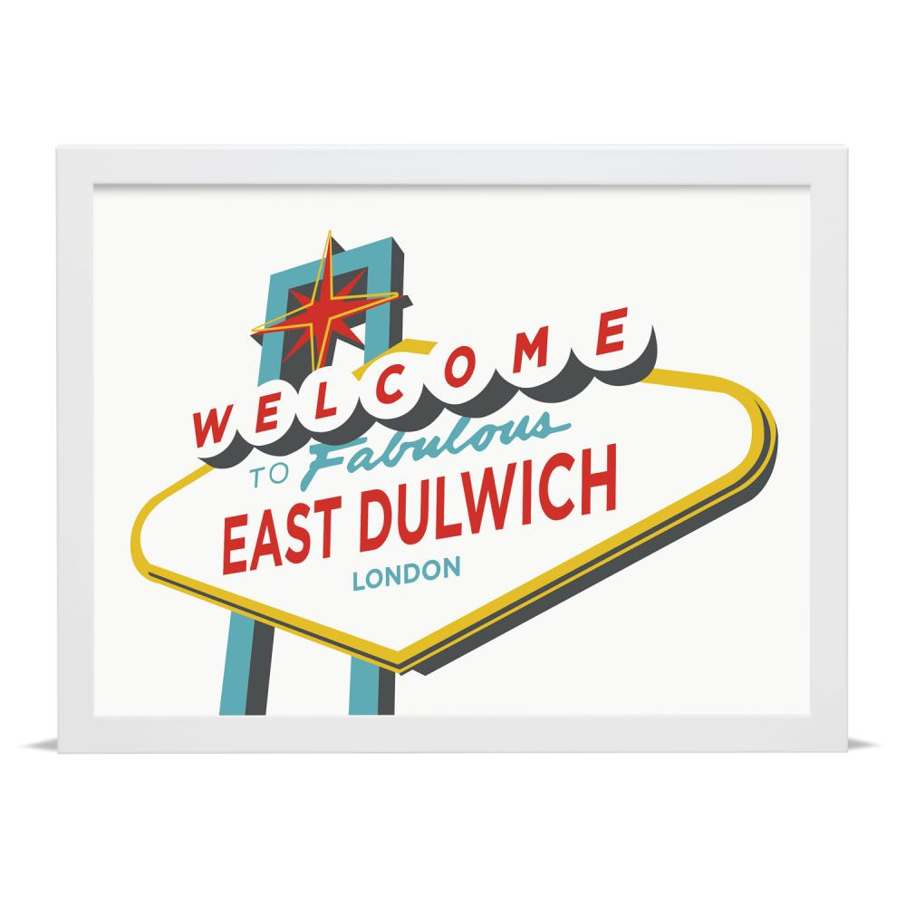 Place in Print Welcome to Fabulous East Dulwich Vegas Sign Art Print