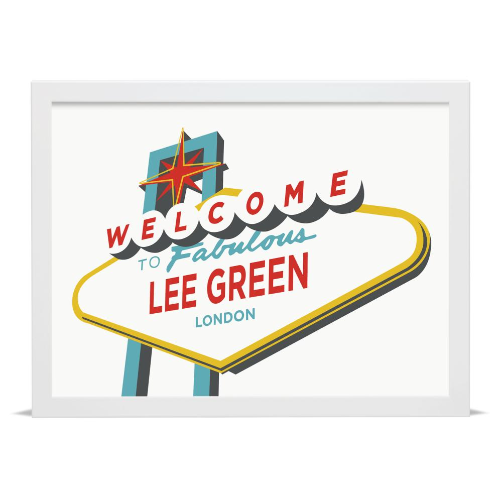 Place in Print Welcome to Fabulous Lee Green Vegas Sign Art Print