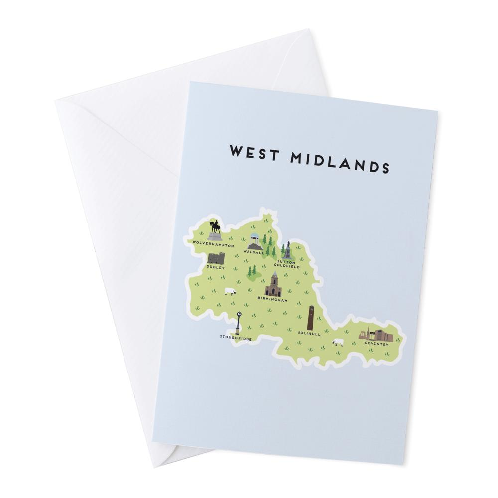 Place in Print Pepper Pot Studios West Midlands Illustrated Map Greetings Card