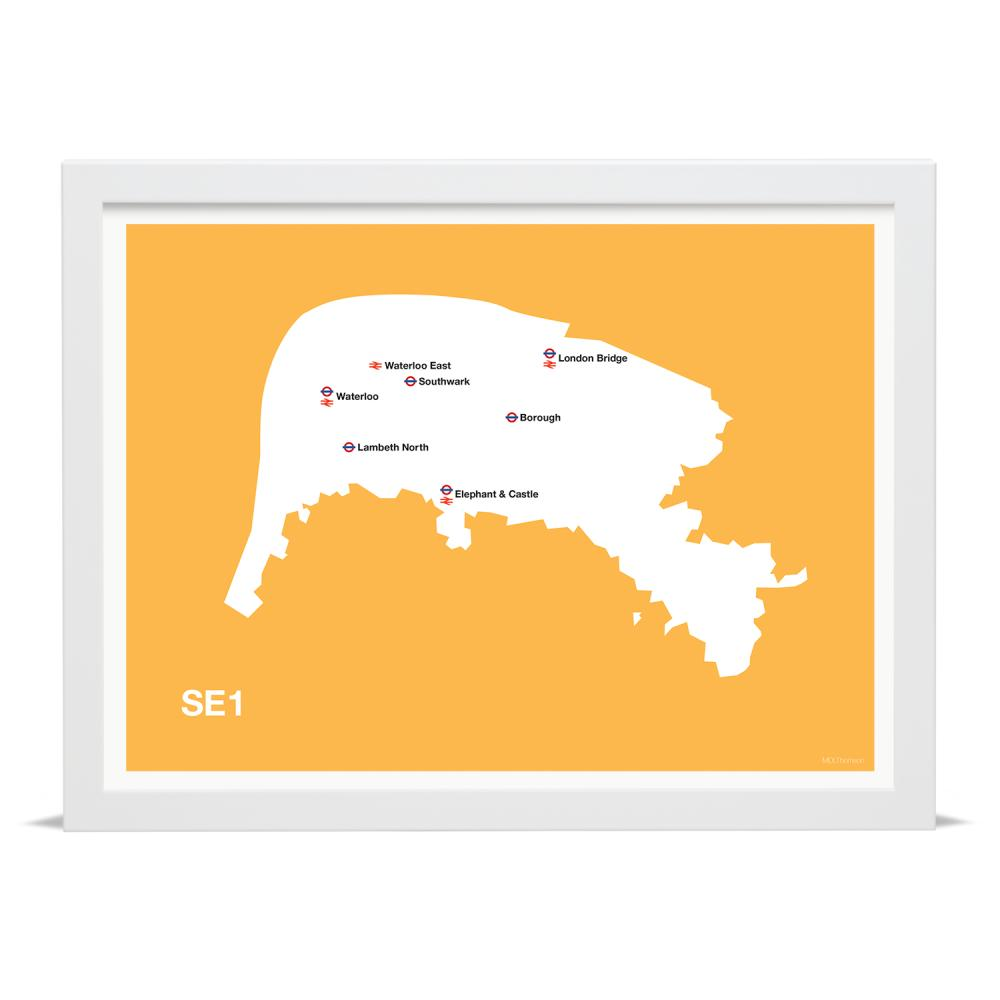 Place in Print MDLThomson SE1 Postcode Map Art Print