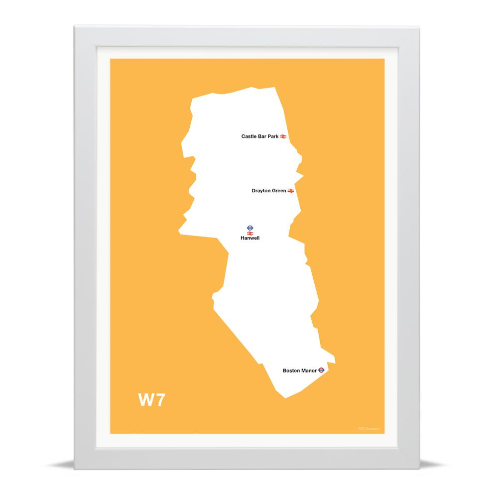 Place in Print MDLThomson W7 Postcode Map Art Print