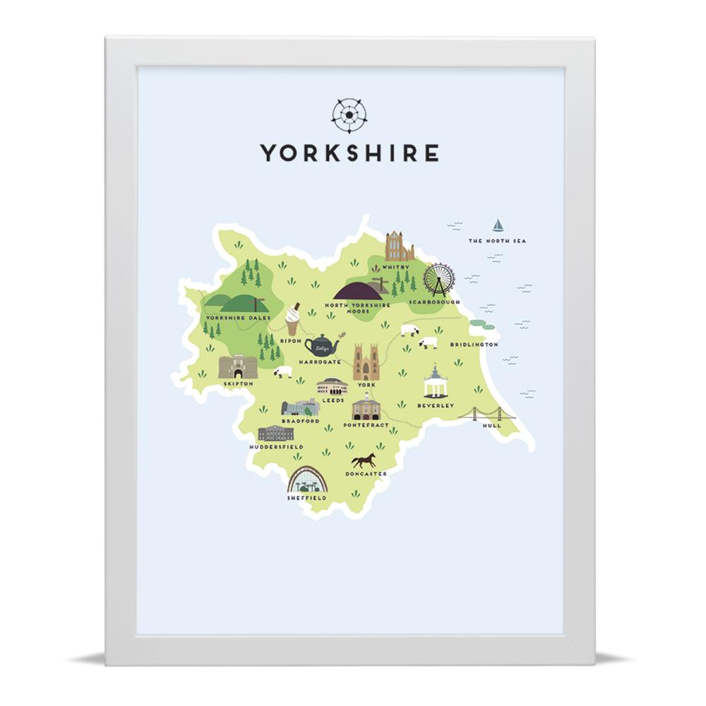 Place in Print Pepper Pot Studios Yorkshire Illustrated Map Art Print