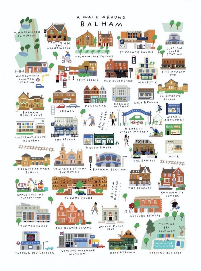Place in Print A Walk Around Balham Art Print