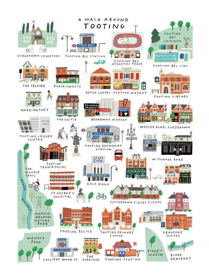 Place in Print Mercedes Leon Walk Around Tooting Map Art Print