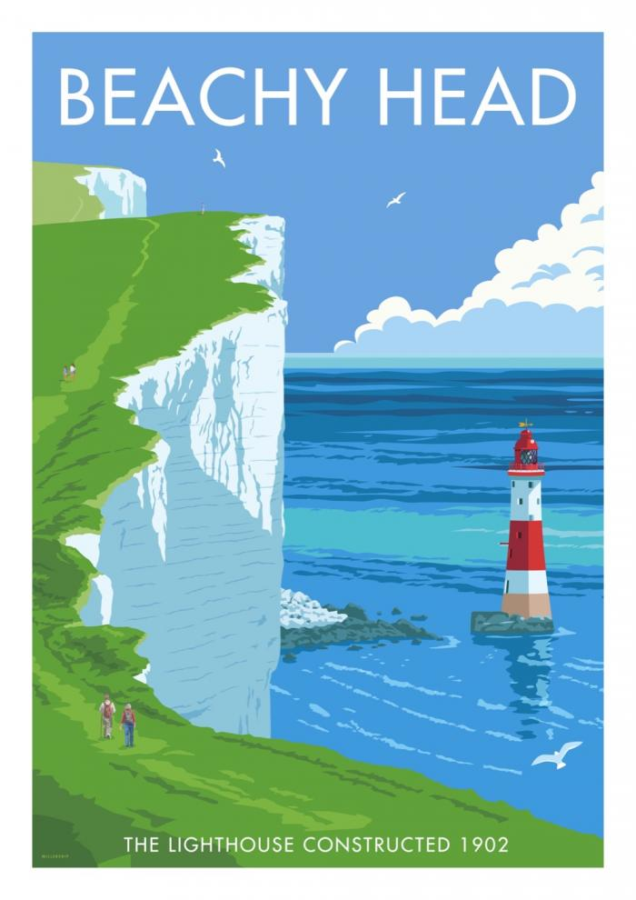 Place in Print Stephen Millership Beachy Head Travel Poster Travel Poster Art Print