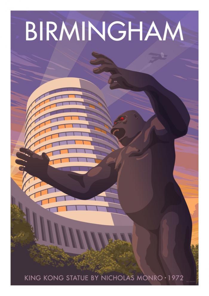 Place in Print Stephen Millership Birmingham King Kong Travel Poster Travel Poster Art Print