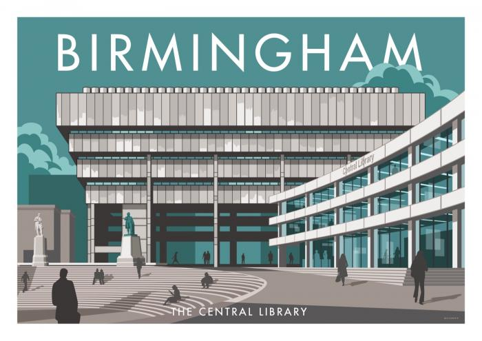 Place in Print Stephen Millership Birmingham Central Library Travel Poster Travel Poster Art Print