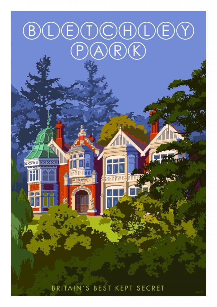 Place in Print Stephen Millership Bletchley Park Travel Poster Travel Poster Art Print