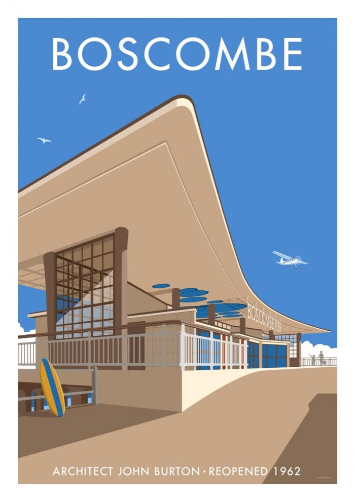 Place in Print Stephen Millership Boscombe Travel Poster Travel Poster Art Print