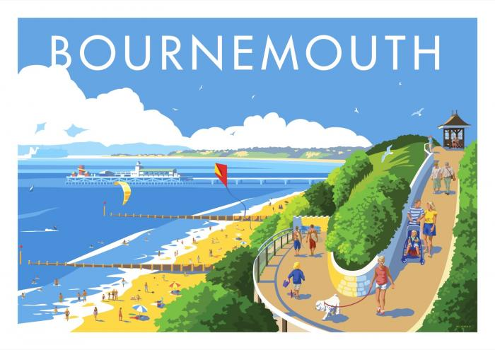 Place in Print Stephen Millership Bournemouth Travel Poster Travel Poster Art Print