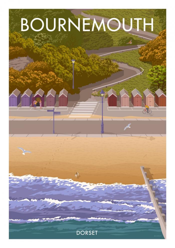 Place in Print Stephen Millership Bournemouth Huts Travel Poster Travel Poster Art Print
