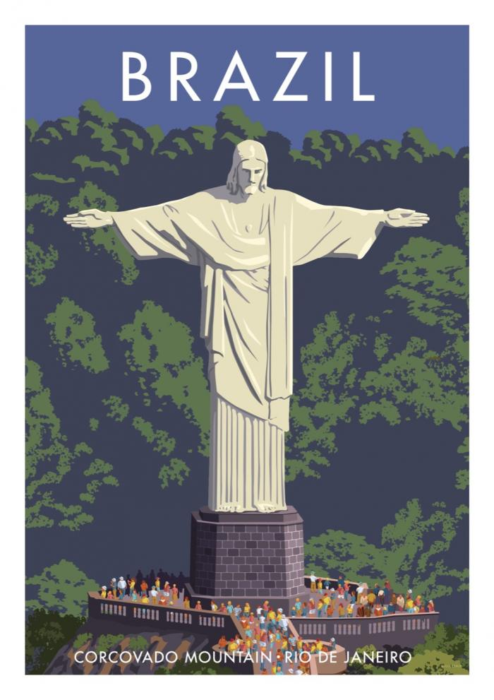 Place in Print Stephen Millership Brazil Corcovado Mountain Travel Poster Travel Poster Art Print
