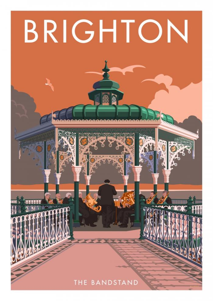 Place in Print Stephen Millership Brighton Bandstand Travel Poster Travel Poster Art Print