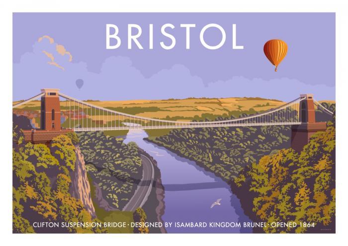 Place in Print Stephen Millership Bristol Clifton Suspension Bridge Travel Poster Travel Poster Art Print