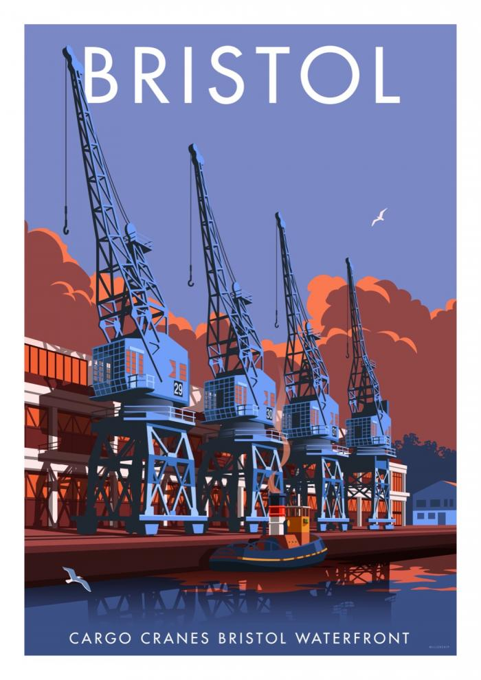 Place in Print Stephen Millership Bristol Waterfront Travel Poster Travel Poster Art Print