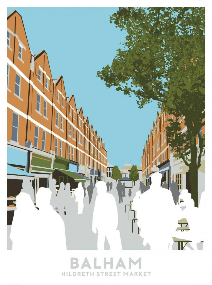 Place in Print Hildreth Street Market, Balham Travel Poster Art Print