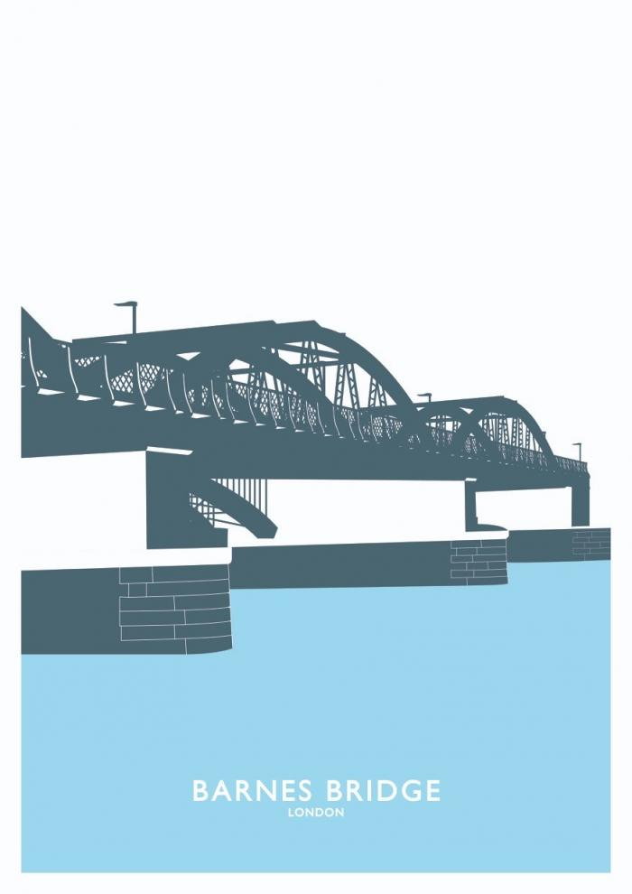 Place in Print Barnes Bridge Travel Poster Art Print