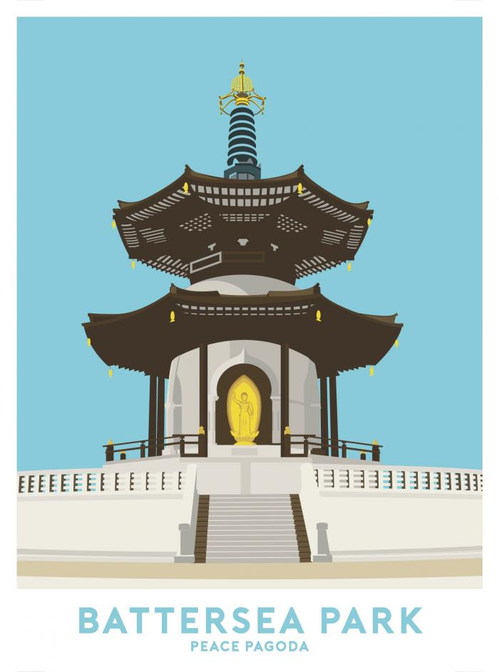 Place in Print Peace Pagoda Battersea Park Travel Poster Art Print