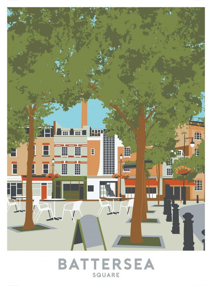Place in Print Battersea Square Travel Poster Art Print