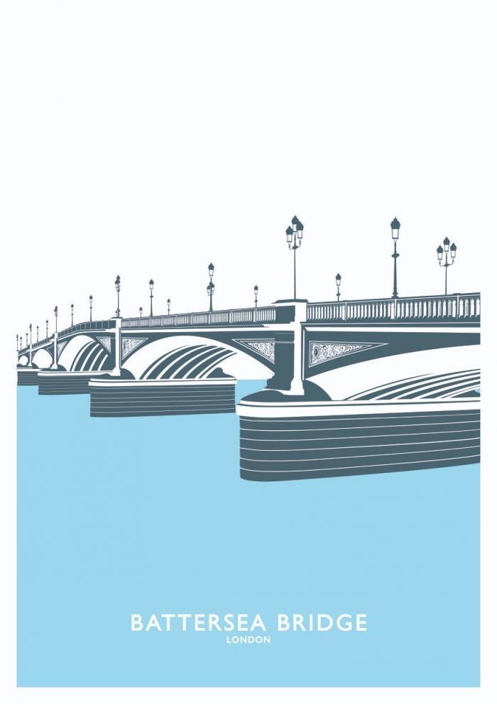 Place in Print Battersea Bridge Travel Poster Art Print