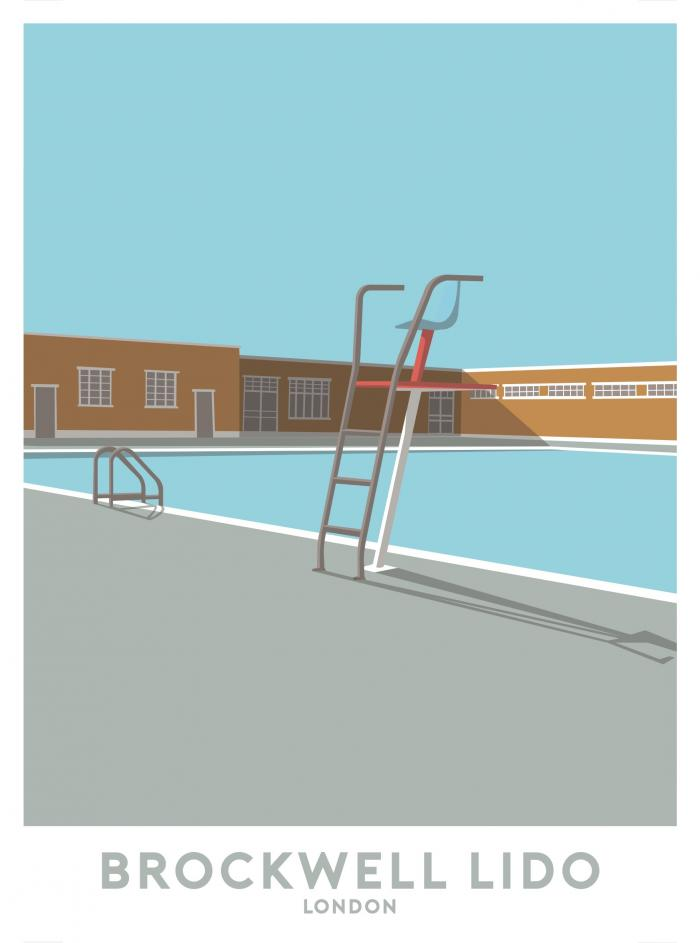 Place in Print Brockwell Lido Lifeguard Travel Poster Art Print