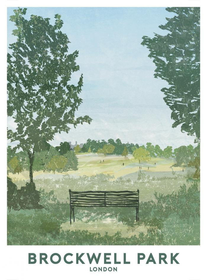 Place in Print Brockwell Park Texture Travel Poster Art Print