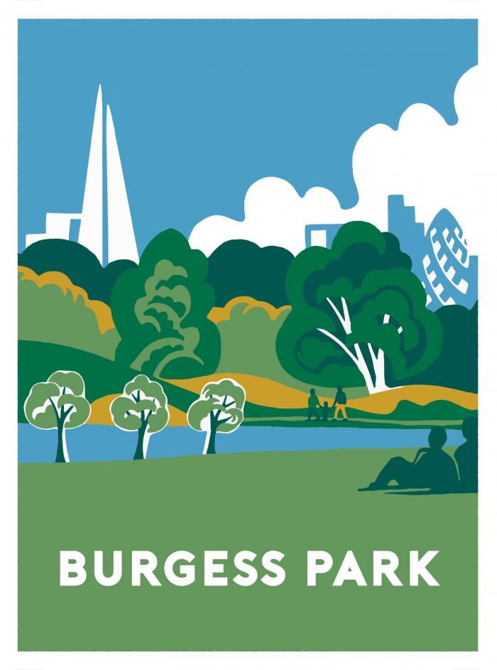 Place in Print Ginette Guiver Burgess Park Art Print