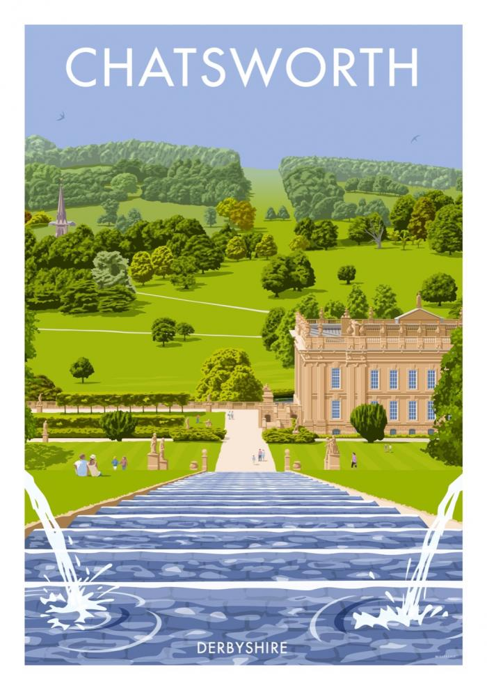 Place in Print Stephen Millership Chatsworth Derbyshire Travel Poster Travel Poster Art Print