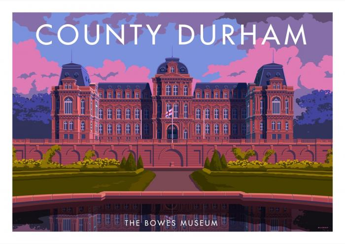 Place in Print Stephen Millership County Durham Bowes Museum Travel Poster Travel Poster Art Print