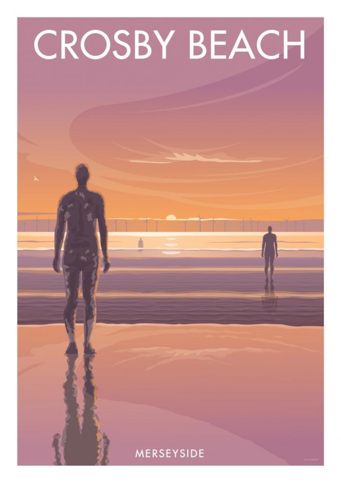 Place in Print Stephen Millership Crosby Beach Merseyside Travel Poster Travel Poster Art Print