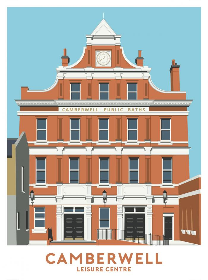 Place in Print Camberwell Leisure Centre Travel Poster Art Print