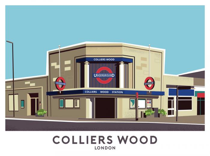 Place in Print Colliers Wood Station Travel Poster Art Print