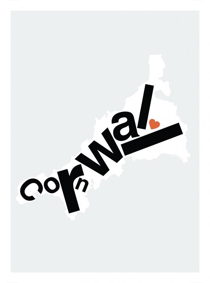 Place in Print Cornwall Type Map Art Print
