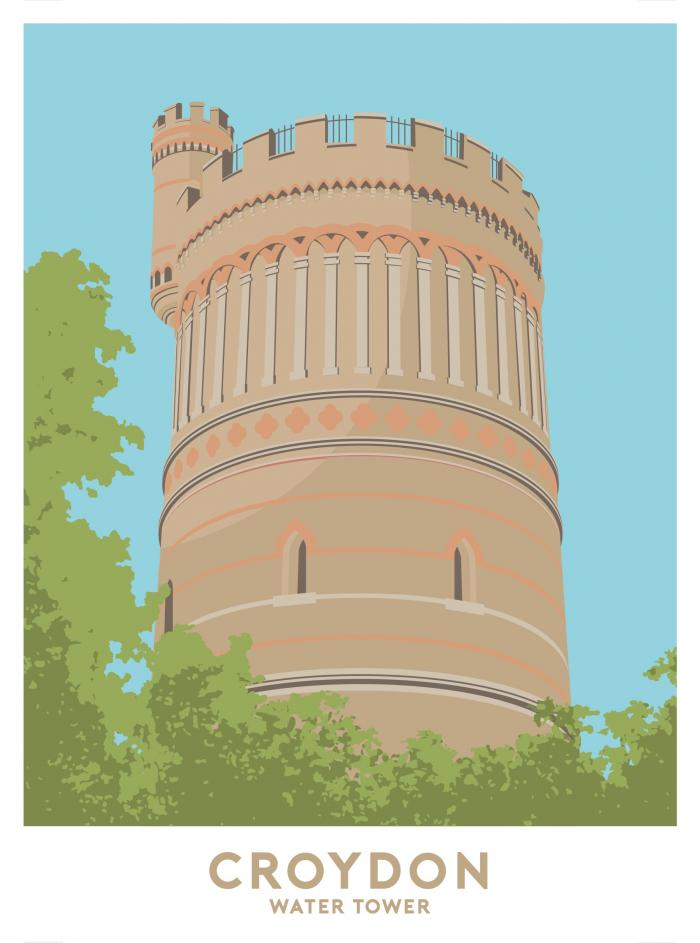 Place in Print Croydon Water Tower Travel Poster Art Print