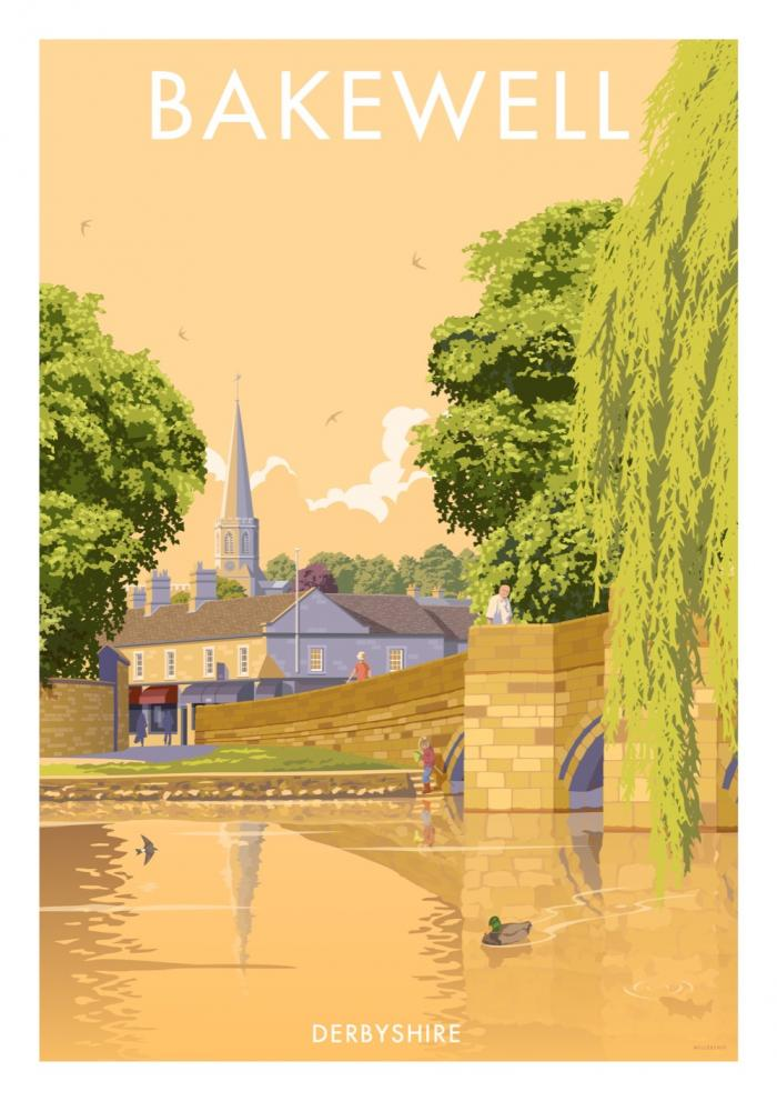 Place in Print Stephen Millership Bakewell Derbyshire Travel Poster Travel Poster Art Print