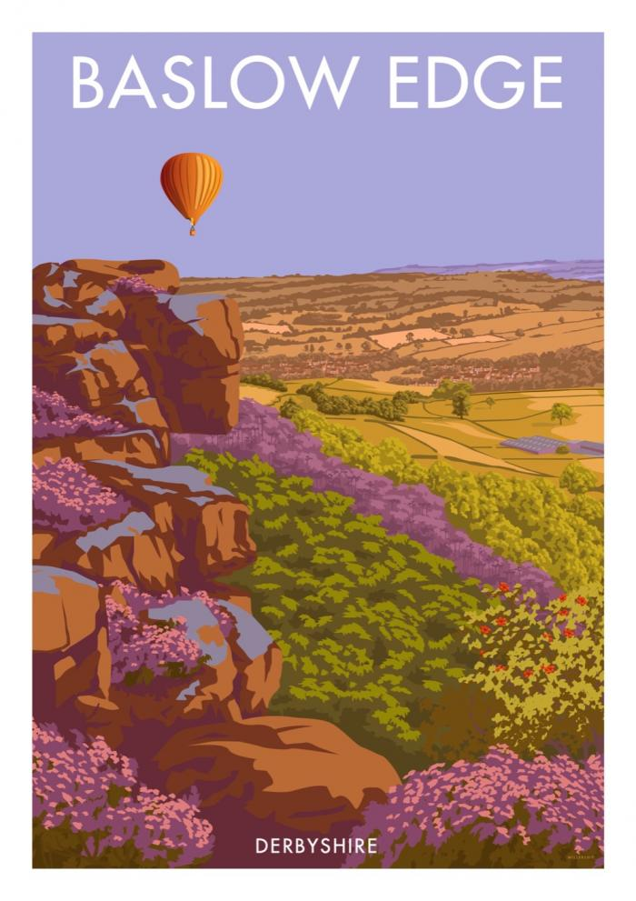 Place in Print Stephen Millership Baslow Edge Derbyshire Travel Poster Travel Poster Art Print